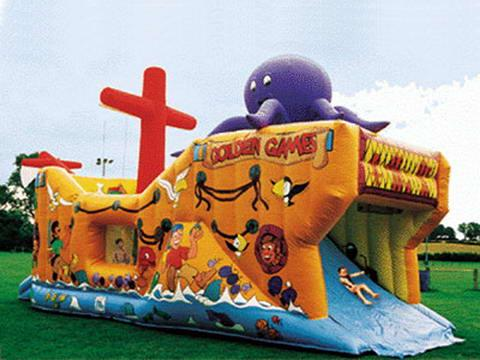 Lovely Inflatable Bug Funcity With Slide, Inflatable Funland For Kids