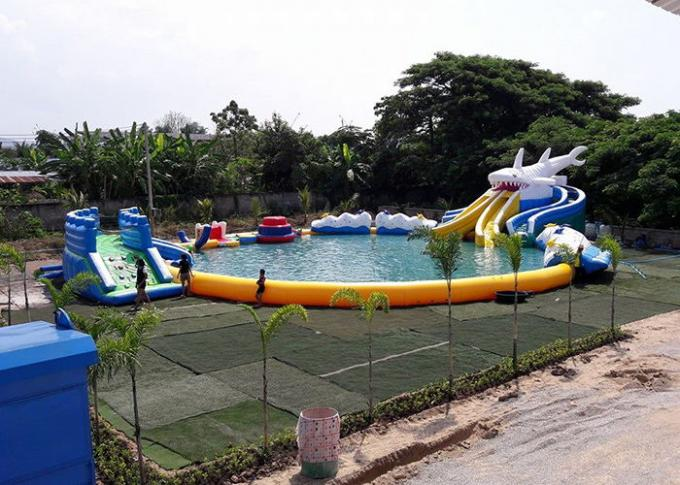 Inflatable Shark Theme Inflatable Moving Park , Outdoor  Inflatable Water Slide Games
