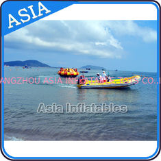চীন Sealed 3m Inflatable Floating Spin Water Disco Boat For 8 Person Blue / Yellow কারখানা