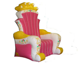 চীন Hot Melding Pink 0.9mm Pvc Tarpaulin Inflatable  King Chair Sofa For Advertising কারখানা