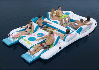 চীন Party Inflatable Floating Island For Beach Vacation , Inflatable Lounge For Lake কারখানা