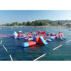 চীন Red and Blue Inflatable Aqua Park , 0.9mm PVC Tarpaulin Inflatable Sports Park কারখানা