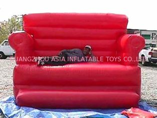 চীন Red Durable Pvc Tarpaulin Inflatable Sofa Air Bed Furniture , Inflatable Couch Furniture কারখানা