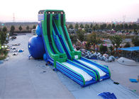 Green And Blue  Dry and Wet Slides , Inflatable Drop Kick Slide With Double Lanes For Resort And Event সরবরাহকারী