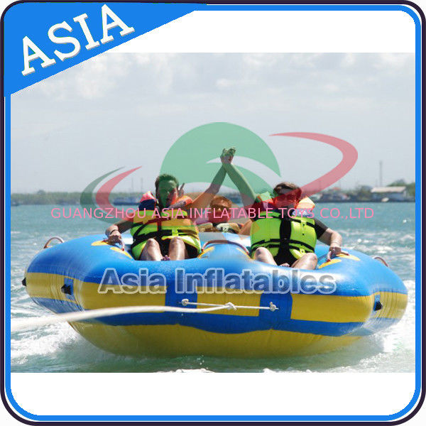 Sealed Towable 4 Person Inflatable Boats Yellow / Blue Rolling Donut Boat সরবরাহকারী
