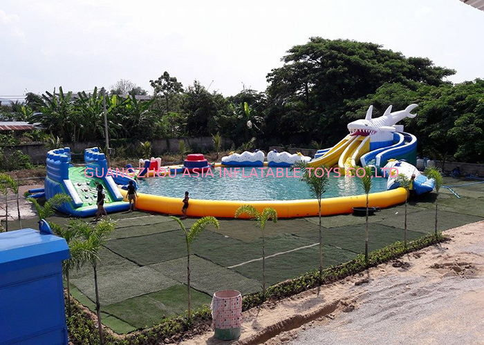 Inflatable Shark Theme Inflatable Moving Park , Outdoor  Inflatable Water Slide Games সরবরাহকারী