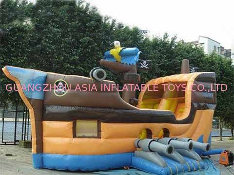 Grey Inflatable Ship Bouncer And Inflatable Funland For Chilren Party Games সরবরাহকারী