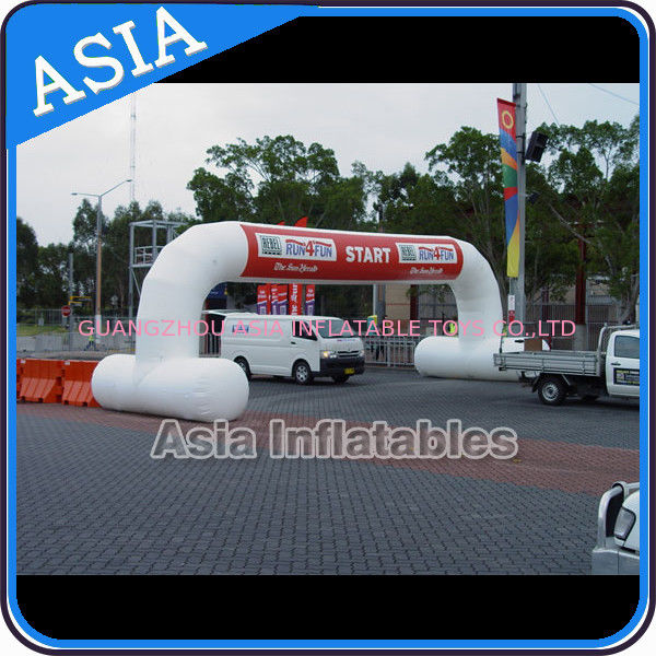 White Color Inflatable Start Line Arch With Removable Banner For Rental সরবরাহকারী