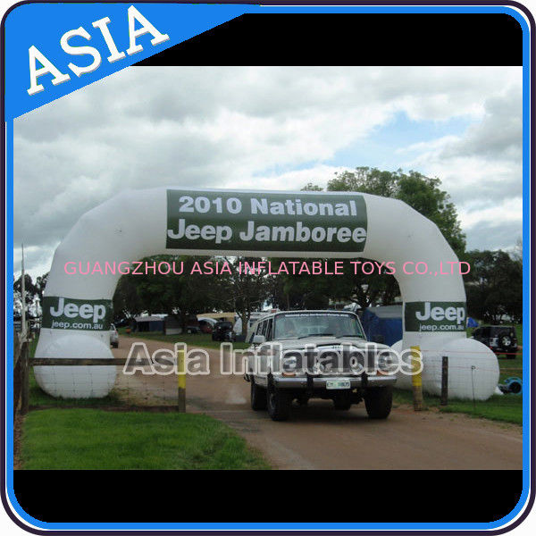 2 Legs Inflatable Archway In White Color With Removable Banner For Car Show সরবরাহকারী