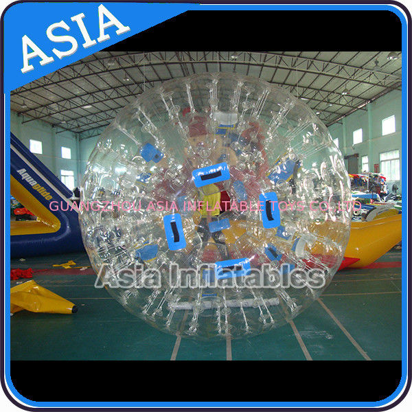 0.8mm Pvc Clear Inflatable Water Zorb Ball With Double Entrance For Adult সরবরাহকারী